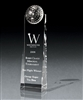 Optical Crystal Large Golf Tower Award with Sand Etched, Optical Golf Crystal, Optical Golf Awards