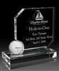 Optical Crystal Hole in One Award with Golf Ball Display with Sand Etched, Optical Golf Crystal, Optical Golf Awards
