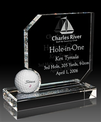 Optical Crystal Hole in One Award Golf Ball Display Sand Etched