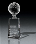 Optical Crystal Small Golf Pedestal Award Sand Etched