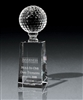 Optical Crystal Medium Golf Pedestal Award with Sand Etched, Optical Golf Crystal, Optical Golf Awards