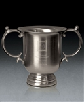 Brushed Pewter Small Manchester Trophy Cup with Sand Etched, Golf Brushed Pewter, Pewter Golf Trophies