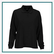 Vansport Women's Omega Long Sleeve Solid Mesh Tech Polo with Custom Embroidery, Vansport Custom Polos, Vansport Custom Logo Gear