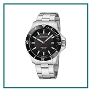 Wenger Large Black Dial Stainless Steel Bracelet 01.0641.118 with Custom Laser Engraving/Pad Print, Wenger Branded Watches, Wenger Corporate Watches