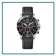 Wenger Large Black Chronograph Dial Black Silicone Strap 01.0643.108 with Custom Laser Engraving/Pad Print, Wenger Custom Watches, Wenger Corporate Logo Gear
