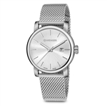 Wenger Small Silver Dial, Stainless Steel Mesh Bracelet 01.1021.116CB with Custom Laser Engraving/Digital Print, Wenger Custom Watches, Wenger Corporate Logo Gear