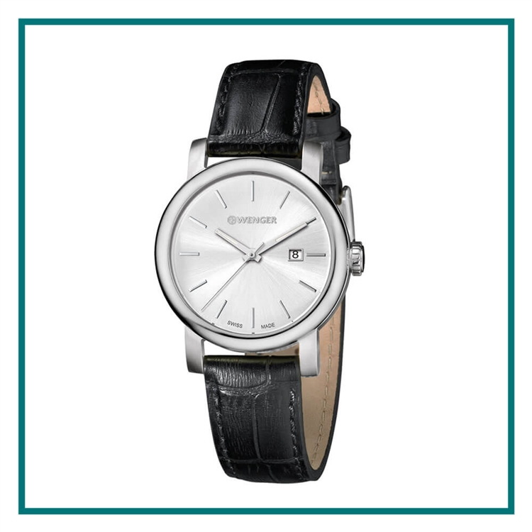 Wenger Small Silver Dial, Black Leather Strap 01.1021.117CB with Custom Laser Engraving/Pad Print, Wenger Custom Watches, Wenger Corporate Logo Gear