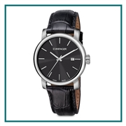 Wenger Black Dial Leather Strap Engraved