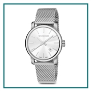 Wenger Large Silver Dial, Stainless Steel Mesh Bracelet 01.1041.121CB with Custom Laser Engraving/Digital Print, Wenger Custom Watches, Wenger Corporate Sales