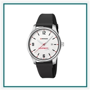 Wenger Small White Dial Black Silicone Strap 01.1421.117 with Custom Laser Engraving/Pad Print, Wenger Custom Watches, Wenger Corporate Logo Gear