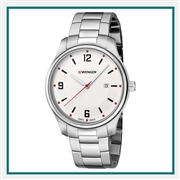 Wenger Small White Dial Stainless Steel Bracelet 01.1421.118 with Custom Laser Engraving/Pad Print, Wenger Custom Watches, Wenger Corporate Logo Gear