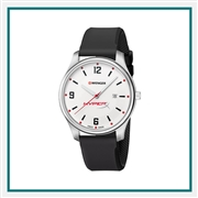 Wenger Large White Dial Black Silicone Strap 01.1441.108 with Custom Laser Engraving/Pad Print, Wenger Custom Watches, Wenger Corporate Logo Gear