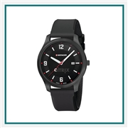 Wenger Large Black PVD Case Black Dial Black Silicone Strap 01.1441.111 with Custom Laser Engraving/Pad Print, Wenger Custom Watches, Wenger Corporate Logo Gear