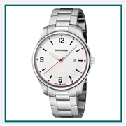 Wenger Large White Dial Stainless Steel Bracelet 01.1441.121 with Custom Laser Engraving/Pad Print, Wenger Custom Watches, Wenger Corporate Logo Gear