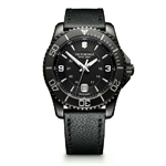 Victorinox Maverick Black Edition Large Black Dial & Leather Strap 241697 with Custom Laser Engraving/Digital Print, Victorinox Custom Watches, Victorinox Corporate Logo Gear