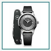 Victorinox Alliance Large Grey Dial Black Leather Strap with Grey Pioneer Swiss Army Knife 241804.1 with Custom Laser Engraving, Victorinox Custom Watches, Victorinox Corporate & Group Sales