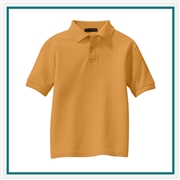 Port Authority Youth Silk Touch Polo Y500 with Custom Embroidery, Custom Logo Port Authority Polos, Embroidered Port Authority Polos, Embroidered Port Authority, Port Authority Embroidery