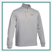 Pebble Beach M Heathered Stripe 1/4 Zip Pullover Company Logo