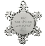 Custom Pewter Snowflake Ornament
