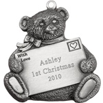 Teddy Bear with Love Note Engravable Pewter Ornament