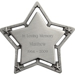 Engraved Large Star Pewter Ornament