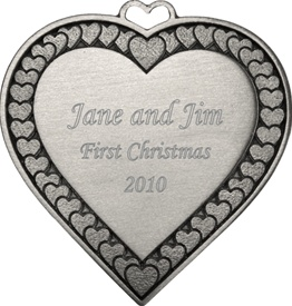 Heart with Hearts  Engravable Pewter Ornament