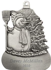 Snowman with Birds Engravable Pewter Ornament