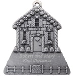 Engraved Ginger Bread House Pewter Ornament