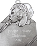 Puppy in Gift Box Engravable Pewter Ornament