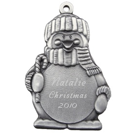 Engravable Penguin with Candy Cane Pewter Ornament
