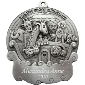 Babys First Christmas Noahs Ark Pewter Ornament