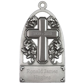 Engravable Memorial Cross Pewter Ornament
