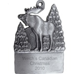 Engravable Moose in the Woods Pewter Ornament