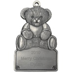 Teddy Bear Engraved Pewter Ornament