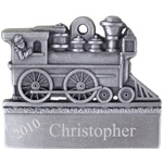 Engravable Train Engine Pewter Ornament