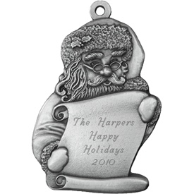 Santa with List Engraved Pewter Ornament