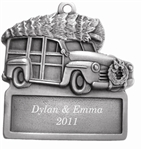 Woody Wagon Engraved Pewter Ornament