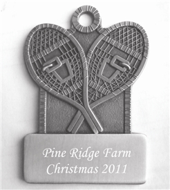 Pewter Snowshoes Engraved Ornament