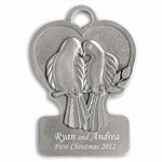 Engravable Doves Pewter Ornament