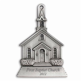Engravable Church Pewter Ornament