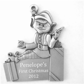 Engravable Elf Pewter Ornament