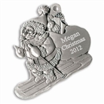 Engravable Santa on Skis Pewter Ornament