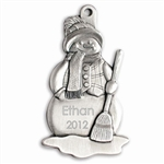 Engravable Snowman with Broom Pewter Ornament