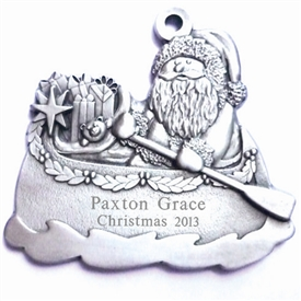 Engravable Santa in Canoe Pewter Ornament