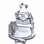 Personalized Elf with List Pewter Ornament