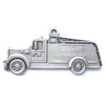 Engravable Fire Truck Pewter Ornament