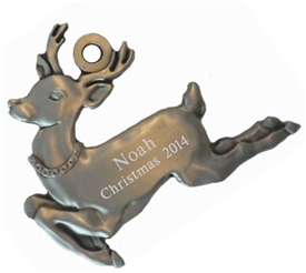 Personalized Pewter Reindeer Ornament