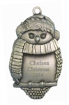 Personalized Pewter Owl Ornament