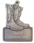 Personalized Cowboy Boots Ornament