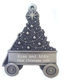 Wagon with Christmas Tree Pewter ornament